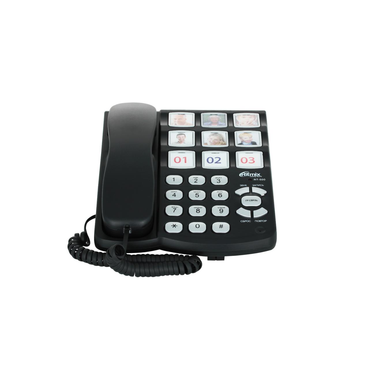 Телефон проводной ritmix rt 500 black купить