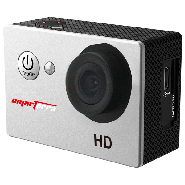 Видеокамера экшн SmarterraЭкшн камера<br>Разъем под microSD/microSDHC: 1,<br>Алгоритм сжатия AVI: Да,<br>Вид гарантии: гарантийный талон,<br>Вес: 58 г,<br>Время автономной работы: до 2 часов,<br>Крепление липучка: в комплекте,<br>Быстросъёмное крепление: в комплекте,<br>Скорость видеосъемки: 30 кадр/сек,<br>Крепление на пояс: Да,<br>Материал корпуса: пластик,<br>Фокусное расстояние: 2.5 мм,<br>Звук: моно,<br>Макс. емкость карты памяти: 32 ГБ,<br>Используемая оптика: Smarterra,<br>Количество матриц: 1,<br>Крепление на руль велосипеда: Да,<br>Качество видеосъемки: 1280x720 Пикс (HD)<br><br>Ширина мм: 59<br>Вес г: 58<br>Глубина мм: 24<br>Высота мм: 41<br>Цвет : серебр./черный