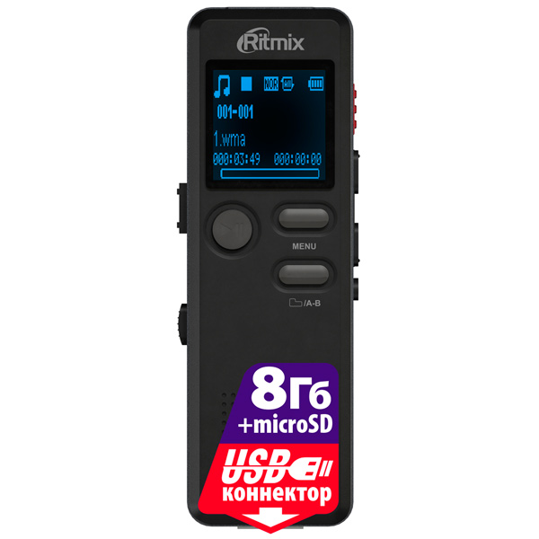 Диктофон цифровой Ritmix RR-610 8Gb 8gb hq 650hr карты памяти usb аккумуляторная цифровой диктофон ручка серебро