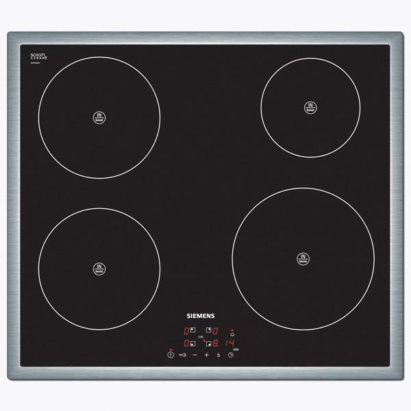 Встраиваемая индукционная панель SiemensВстраиваемая индукционная панель<br>Базовый цвет: черный,<br>Размещение панели управ.: спереди,<br>Вид гарантии: по чеку,<br>Инд. выбранной мощности: Да,<br>Количество конфорок: 4,<br>Гарантия: 1 год,<br>Аварийное отключение конф.: Да,<br>Потребляемая мощность: 7200 Вт,<br>Таймер отключения конфорок: Да,<br>Цвет рамки : нерж. сталь,<br>Защита от детей: Да,<br>Ширина: 583 мм,<br>Глубина: 513 мм,<br>Цвет: черный,<br>Тип конфорок: индукционные,<br>Габаритные размеры (Ш*Г): 583*513 мм,<br>Режим быстрый нагрев: Да,<br>Инд. остаточного тепла: Да,<br>Страна: Испания<br>