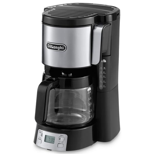 Кофеварка капельного типа De LonghiКофеварки капельного типа<br>Приготовл. маленьких чашек: 10 порц.,<br>Длина сетевого шнура: 0.9 м,<br>Градуировка колбы: Да,<br>Съемный резервуар для кофе: Да,<br>Вес: 2.5 кг,<br>Синтетический фильтр: в комплекте,<br>Противокапельная система: Да,<br>Мерная ложечка: Да,<br>Размер фильтра: x4,<br>Объем колбы: 1 л,<br>Цифровой дисплей: 1,<br>Материал корпуса: пластик,<br>Отложенный старт: до 24 часов,<br>Вид гарантии: гарантийный талон,<br>Страна: КНР,<br>Габаритные размеры (В*Ш*Г): 35*22*28 см,<br>Гарантия: 2 года,<br>Регулировка крепости кофе: Да<br>