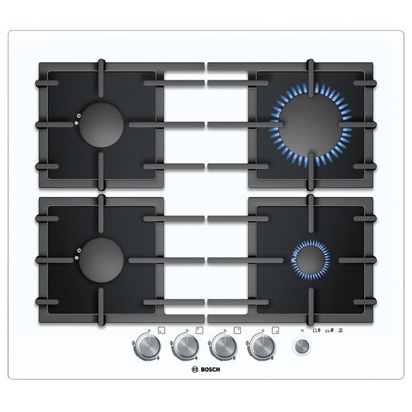 Встраив. газовая панель BoschВстраиваемые газовые панели<br>Функция миним. огонь: Да,<br>Габаритные размеры (Ш*Г): 590*520 мм,<br>Размер ниши (Ш*Г): 560*480-490 мм,<br>Решетка: чугунная,<br>Материал варочной поверхности: закаленное стекло,<br>Газконтроль конфорок: Да,<br>Защита от детей: Да,<br>Базовый цвет: белый ,<br>Вид гарантии: по чеку,<br>Электроподжиг конфорок: автоматический,<br>Варочная панель: независимая,<br>Заподлицо со столешницей: Да,<br>Тип управления: механический,<br>Цвет: белый/черный,<br>Края панели: обработанные без рамки,<br>Размещение панели управ.: спереди<br><br>Вес кг: 15<br>Ширина мм: 590<br>Глубина мм: 520<br>Цвет : белый/черный