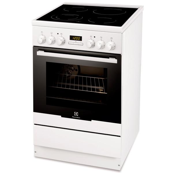 Электрическая плита (50-55 см) ElectroluxЭлектрические плиты (50-55 см)<br>Базовый цвет: белый ,<br>Открытие дверцы: вниз,<br>Ящик для посуды: выдвижной,<br>Краткое описание: 4;7935Вт;белый/черный,<br>Электронный программатор: Да,<br>Конвекция: Да,<br>Вес: 42 кг,<br>Режимы работы духовки: 6,<br>Стекло дверцы духовки: 2-слойное,<br>Металлическая решетка: 1 шт,<br>Дальняя, левая конфорка: 14 см,<br>Количество конфорок: 4,<br>Ближняя, левая конфорка: 12/18 см,<br>Ближняя, правая конфорка: 14 см,<br>Дальняя, правая конфорка: 18 см,<br>Габаритные размеры (В*Ш*Г): 85*50*60 см,<br>Тип дисплея: цифровой<br>