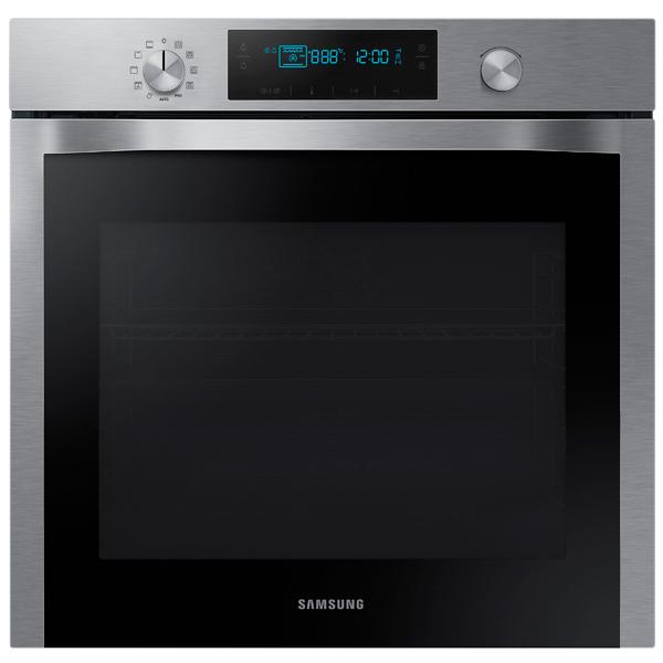 Электрический духовой шкаф SamsungВстраиваемый электрический духовой шкаф<br>Ширина: 595 мм,<br>Глубина: 566 мм,<br>Высота: 595 мм,<br>Класс энергоэффективности: A,<br>Стекло дверцы духовки: 3-слойное,<br>Режимы работы духовки: 7,<br>Тип освещения: лампа накаливания,<br>Вес: 35 кг,<br>Вид гарантии: гарантийный талон,<br>Цвет: нерж. сталь/черный,<br>Утапливаемые ручки управ.: Да,<br>Индикация режима работы: Да,<br>Сетевой кабель: доп. опция,<br>Открытие дверцы: вниз,<br>Плоский противень: 1 шт,<br>Тип очистки: очистка паром,<br>Внутреннее покрытие: керамическая эмаль,<br>Объем духовки: 70 л,<br>Сенсорная панель управления: Да<br><br>Вес кг: 35<br>Ширина мм: 595<br>Глубина мм: 566<br>Высота мм: 595<br>Цвет : нерж. сталь/черный