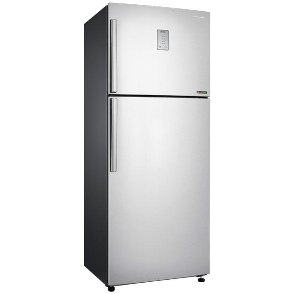 Холодильник с верхней морозильной камерой Широкий SamsungШирокие холодильники с верхней морозильной камерой<br>Тип компрессора: инверторный,<br>Ящиков в зоне сохр. свежести: 1,<br>Тип управления: электронный,<br>Уровень шума: 39 дБ,<br>Регул. темп. в зоне сохр. свежести: Да,<br>Вид гарантии: гарантийный талон,<br>Тип освещения: светодиодное,<br>Материал полок: стекло,<br>Количество дверей: 2,<br>Инд. темп. в холод. к-ре: Да,<br>Вес: 74 кг,<br>Инд. темп. в мороз. к-ре: Да,<br>Общий объем: 459 л,<br>Объем холодильной камеры: 347 л,<br>Объем морозильной камеры: 112 л,<br>Класс энергоэффективности: A+,<br>Количество компрессоров: 1<br>