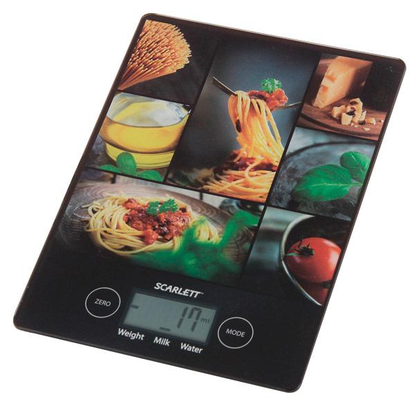 Весы кухонные ScarlettВесы кухонные<br>Максимальный вес: 5 кг,<br>Материал корпуса: стекло,<br>Цена деления: 1 г,<br>Батареи в комплекте: Да,<br>Прорезиненные ножки: Да,<br>Погрешность: до 1 г,<br>Автоматическое выключение: Да,<br>Сенсорная панель управления: Да,<br>Тип весов: электронные,<br>Цифровой дисплей: 1,<br>Последовательн.взвешивание: Да,<br>Вес: 0.38 кг,<br>Гарантия: 1 год,<br>Сброс веса тары: Да,<br>Тип исп. батареи: 1 х CR 2032,<br>Страна: КНР,<br>Цвет: черный/рисунок,<br>Вид гарантии: гарантийный талон,<br>Индикация разрядки батарей: Да,<br>Материал платформы: стекло<br>