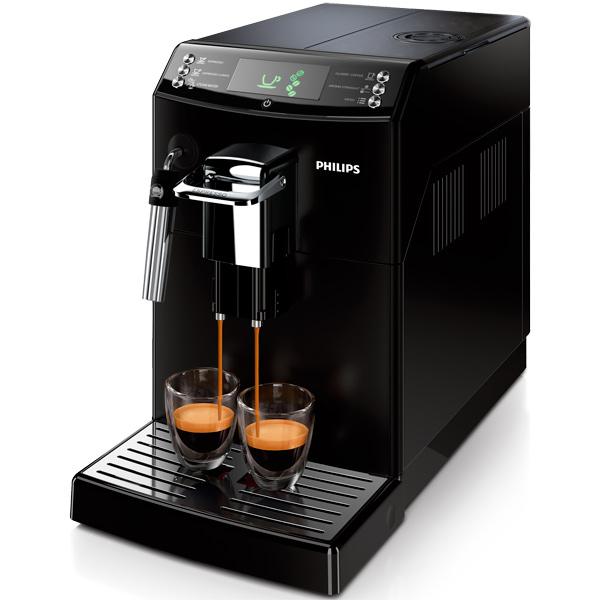 Кофемашина PhilipsАвтоматические кофемашины<br>Регулировка крепости кофе: Да,<br>Максимальное давление: 15 Бар,<br>Вид гарантии: по чеку,<br>Встроенная кофемолка: Да,<br>Воз-ть приготов. 2 чашек: Да,<br>Материал решетки каплесбор: металл,<br>Объем резерв. для зерен: 250 г,<br>Габаритные размеры (В*Ш*Г): 33*21.5*42.9 см,<br>Инд. готовности к работе: Да,<br>Потребляемая мощность: 1800 Вт,<br>Материал корпуса: пластик,<br>Инд. необход. очистки от накипи: Да,<br>Тип управления: электронный,<br>Система быстрый пар: Да,<br>Предвар. смачивание кофе: Да,<br>Самоочистка: Да,<br>Гарантия: 2 года<br>