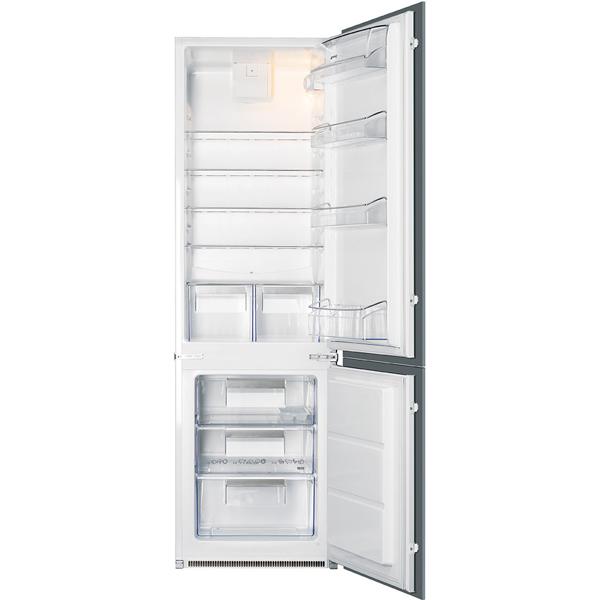 Встраиваемый холодильник комби SmegВстраиваемые холодильники премиум<br>Перенавешиваемые двери: Да,<br>Вентилятор для распр. темп.: Да,<br>Разм. холод. камеры: автомат.(капельное),<br>Режим суперзамораживания : Да,<br>Энергопотребление в год: 233 кВтч,<br>Вес: 54 кг,<br>Количество компрессоров: 1,<br>Общий  объем: 280 л,<br>Вид гарантии: гарантийный талон,<br>Полок в холодильной камере: 5,<br>Класс энергоэффективности: A++,<br>Количество камер: 2,<br>Индикация включения: Да,<br>Объем морозильной камеры: 75 л,<br>Объем холодильной камеры: 202 л,<br>Размер ниши (В*Ш*Г): 2000*560*550 мм,<br>Ванночки для льда: 1 шт<br><br>Ширина мм: 560<br>Вес кг: 54<br>Глубина мм: 550<br>Высота мм: 1780<br>Цвет : белый