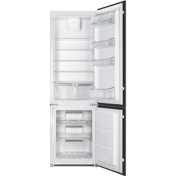 Встраиваемый холодильник комби SmegВстраиваемые холодильники премиум<br>Фикс. полок против выдвиж.: Да,<br>Отделений в мороз. камере: 3,<br>Полок в холодильной камере: 5,<br>Тип компрессора: стандартный,<br>Ящиков в мороз. камере: 3,<br>Общий  объем: 280 л,<br>Освещение холод. камеры: Да,<br>Высота: 1772 мм,<br>Глубина: 549 мм,<br>Цвет: белый,<br>Объем холодильной камеры: 200 л,<br>Энергопотребление в год: 297 кВтч,<br>Мощность замораживания: 4 кг/сутки,<br>Объем морозильной камеры: 63 л,<br>Расположение мороз.камеры: нижнее,<br>Ширина: 540 мм,<br>Разм. холод. камеры: автомат.(капельное)<br>