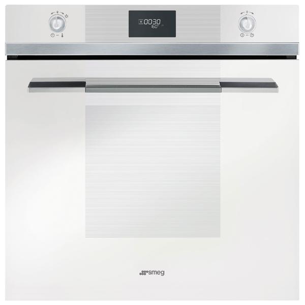 Встраиваемый электрический духовой шкаф SmegЭлектрический духовой шкаф премиум<br>Класс энергоэффективности: A,<br>Таймер выключения : Да,<br>Тип очистки: очистка паром,<br>Объем духовки: 70 л,<br>Режимы работы духовки: 7,<br>Стекло дверцы духовки: 3-слойное,<br>Вес: 32.8 кг,<br>Цвет: белый,<br>Ширина: 597 мм,<br>Глубина: 571 мм,<br>Высота: 592 мм,<br>Внутреннее покрытие: эмаль,<br>Открытие дверцы: вниз,<br>Глубокий противень : 1 шт,<br>Металлическая решетка: 1 шт,<br>Индикация режима работы: Да,<br>Конвекция: Да,<br>Максимальная температура: 280 *С,<br>Гарантия: 2 года,<br>Страна: Италия,<br>Размер ниши (В*Ш*Г): 583*564*560 мм<br>