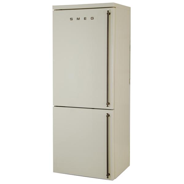 Холодильник с нижней морозильной камерой SmegХолодильники с нижней морозильной камерой<br>Открытие дверцы: налево,<br>Тип освещения: светодиодное,<br>Количество камер: 2,<br>Уровень шума: 43 дБ,<br>Тип управления: электронный,<br>Сигнал открытой двери: звуковой,<br>Отделений в зоне сохр. свежести: 1,<br>Ящиков в зоне сохр. свежести: 1,<br>Тип компрессора: стандартный,<br>Расположение мороз.камеры: нижнее,<br>Количество дверей: 2,<br>Полок в холодильной камере: 3,<br>Кронштейн для бутылок: Да,<br>Габаритные размеры (В*Ш*Г): 190*70*68.2 см,<br>Общий объем: 346 л,<br>Зона сохранения свежести: сухая,<br>Инд. темп. в мороз. к-ре: Да<br><br>Ширина см: 70<br>Вес кг: 124.4<br>Глубина см: 68.2<br>Высота см: 190<br>Цвет : кремовый