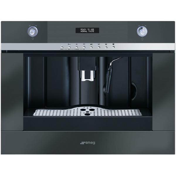 Встраиваемая кофемашина SmegПремиум встраиваемая кофемашина<br>Приготовл. кофе эспрессо: Да,<br>Приготовл. кофе капучино: Да,<br>Ширина: 59.5 см,<br>Вес: 23 кг,<br>Высота: 45.5 см,<br>Глубина: 38.1 см,<br>Цвет: черный,<br>Материал фронт. панели: стекло,<br>Воз-ть приготов. 2 чашек: Да,<br>Объем резерв. для зерен: 220 г,<br>Материал решетки каплесбор: металл,<br>Серия: Linea,<br>Размер ниши (В*Ш*Г): 450*560*550 мм,<br>Приготовление кипятка: Да,<br>Регулировка степени помола: Да,<br>Тип управления: электронный/механич.,<br>Съемный резерв. для капель: Да,<br>Съемный резервуар для воды: Да<br><br>Вес кг: 23<br>Ширина см: 59.5<br>Глубина см: 38.1<br>Высота см: 45.5<br>Цвет : черный