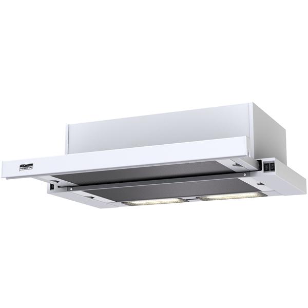 Вытяжка встраиваемая в шкаф 60 см KronaВытяжка встраиваемая в шкаф 60 см<br>Длина сетевого шнура: 1.2 м,<br>Макс. производ. (рециркул.): 273 м куб./ч,<br>Режим отвод воздуха: Да,<br>Макс. производ. (отвод): 390 м куб./ч,<br>Тип освещения: галогеновое,<br>Вес: 5.7 кг,<br>Цвет: белый,<br>Тип управления: механический,<br>Размещение ламп освещения: сзади,<br>Рек. площадь помещения (в 2.6 м): до 8 кв. м,<br>Мин. высота над  газ. плитой: 75 см,<br>Макс. уровень шума: 52 дБ,<br>Страна: КНР,<br>Наим. угольного фильтра: K5,<br>Освещение варочной поверх.: 2 х 28 Вт,<br>Антивозвратный клапан: Да<br>
