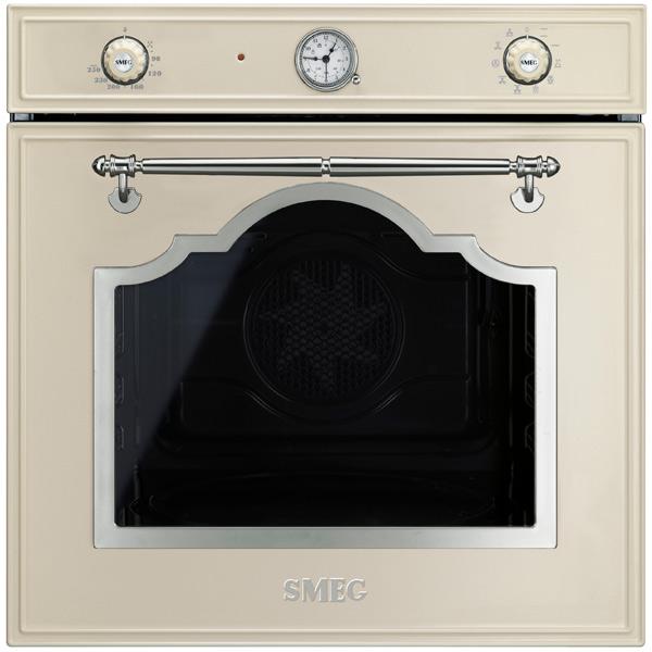 Встраиваемый электрический духовой шкаф SmegЭлектрический духовой шкаф премиум<br>Вес: 40.8 кг,<br>Цвет: кремовый,<br>Высота: 592 мм,<br>Глубина: 571 мм,<br>Ширина: 597 мм,<br>Стекло дверцы духовки: 3-слойное,<br>Металлическая решетка: 1 шт,<br>Встроенные часы: Да,<br>Глубокий противень : 1 шт,<br>Плоский противень: 1 шт,<br>Звуковой таймер: до 180 минут,<br>Конвекция: Да,<br>Тип освещения: галогеновое,<br>Размер ниши (В*Ш*Г): 583*564*560 мм,<br>Режимы работы духовки: 9,<br>Габаритные размеры (В*Ш*Г): 592*597*571 мм,<br>Открытие дверцы: вниз,<br>Потребляемая мощность: 3000 Вт,<br>Внутреннее покрытие: эмаль,<br>Страна: Италия<br>