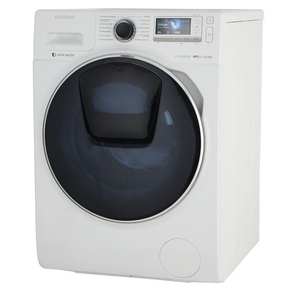 Стиральная машина Стандартная SamsungСтандартные стиральные машины<br>Тип загрузки: фронтальная,<br>Режим постельное белье: Да,<br>Страна: Корея,<br>Максимальная загрузка: 12 кг,<br>Энергопотребление за цикл: 1.08 кВтч,<br>Гарантия: 1 год,<br>Тип управления: электронный/механич.,<br>Инд. времени до конца программы: Да,<br>Мобильная диагностика: Да,<br>Защита от детей: Да,<br>Отложенный старт: до 24 часов,<br>Вид гарантии: гарантийный талон,<br>Расход воды за цикл: 72 л,<br>Уровень шума при стирке: 52 дБ,<br>Уровень шума при отжиме: 72 дБ,<br>Базовый цвет: Белый,<br>Класс энергоэффективности: A<br>