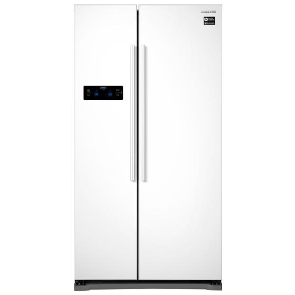 Холодильник (Side-by-Side) SamsungХолодильники Side-by-Side и многодверные<br>Полок в морозильной камере: 4,<br>Тип дисплея: цифровой,<br>Вес: 110 кг,<br>Индикация режима работы: Да,<br>Общий объем: 569 л,<br>Хранение при откл. питания: 4 ч,<br>Полок на двери хол. камеры: 4,<br>Полок в холодильной камере: 4,<br>Класс энергоэффективности: A+,<br>Вид гарантии: гарантийный талон,<br>Количество дверей: 2,<br>Разм. мороз. камеры: автомат.(No Frost),<br>Расположение мороз.камеры: боковое,<br>Климатический класс: SN-N-ST-T,<br>Инд. темп. в мороз. к-ре: Да,<br>Корзина для бутылок: Да,<br>Инд. темп. в холод. к-ре: Да<br><br>Ширина см: 91.2<br>Вес кг: 110<br>Глубина см: 74.8<br>Высота см: 178.9<br>Цвет : белый