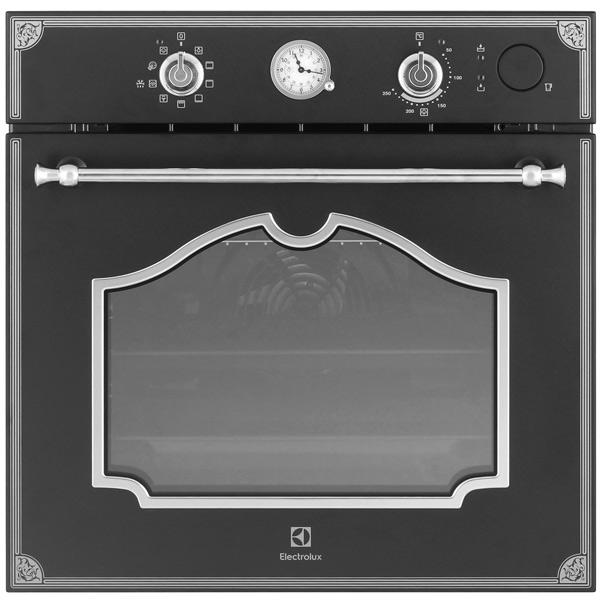 Электрический духовой шкаф ElectroluxВстраиваемый электрический духовой шкаф<br>Плоский противень: 1 шт,<br>Глубокий противень : 1 шт,<br>Конвекция: Да,<br>Потребляемая мощность: 2780 Вт,<br>Габаритные размеры (В*Ш*Г): 594*594*569 мм,<br>Телескопич. направляющие: на 1-м уровне,<br>Металлические направляющие: Да,<br>Размер ниши (В*Ш*Г): 600*560*550 мм,<br>Вес: 39.6 кг,<br>Тип освещения: галогеновое,<br>Максимальная температура: 250 *С,<br>Открытие дверцы: вниз,<br>Класс энергоэффективности: A,<br>Дизайнерская коллекция: Rococo,<br>Встроенные часы: Да,<br>Объем духовки: 72 л,<br>Вид гарантии: гарантийный талон<br><br>Ширина мм: 594<br>Вес кг: 39.6<br>Глубина мм: 569<br>Высота мм: 594<br>Цвет : черный