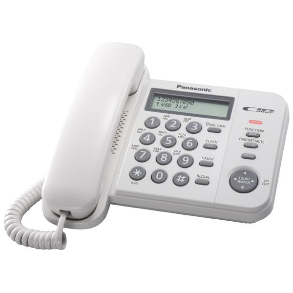 Телефон проводной PanasonicТелефоны проводные<br>Блокировка клавиатуры: ручная,<br>Записная книжка: до 50 номеров,<br>Язык клавиатуры: русский/ английский,<br>Разрядность дисплея: 16,<br>Счетчик времени разговора: Да,<br>Инд. набранного номера: Да,<br>Разъем внешних устройств: Да,<br>Импульсный режим работы: Да,<br>Отсоединяющийся кабель трубки: Да,<br>Настольное размещение: Да,<br>Размер телефона (В*Ш*Г): 70*188*190 мм,<br>Вес трубки: 114 г,<br>Размер трубки (В*Ш*Г): 190*47*40 мм,<br>Вес базы: 478 г,<br>Крепление на стену: Да,<br>Регул. громкости звонка: Да,<br>Страна: Малайзия<br>