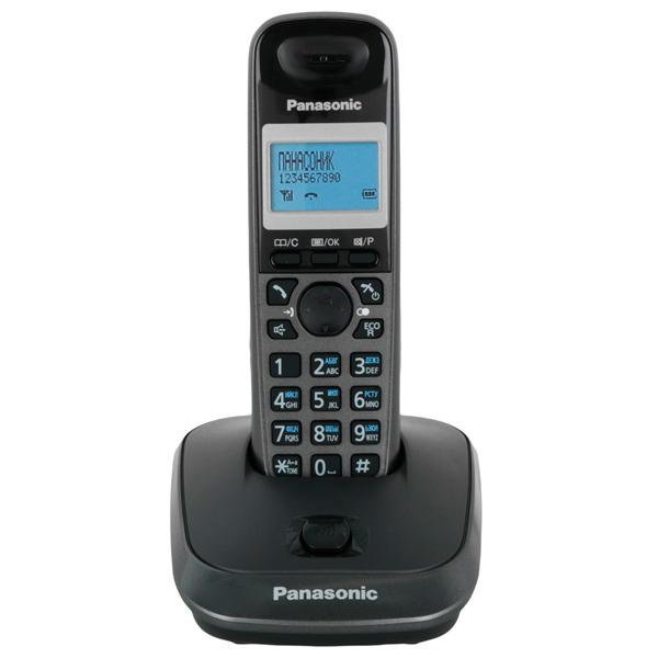 Радиотелефон DECT PanasonicDECT радиотелефоны<br>Монохромный дисплей трубки: Да,<br>Экранное меню: русифицир.,<br>Кол-во аккумуляторов в трубке: 2,<br>Размер аккумулятора: AAA,<br>Дальность (в помещении): до 50 метров,<br>Дисплей на трубке: Да,<br>Серия: Dect,<br>Память принятых вызовов: до 50 номеров,<br>Крепление на стену: Да,<br>Встроенные часы: Да,<br>Цвет: черный/графит.,<br>Материал корпуса: пластик,<br>Дальность (откр. простр.): до 300 метров,<br>Функция Caller ID: Да,<br>Цвет подсвет. дисп. трубки: синий,<br>GAP совместимость: Да,<br>Определитель номера (АОН): Да<br>