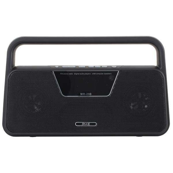 Радиоприемник MAXРадиоприемники<br>Габаритные размеры (В*Ш*Г): 15*25*6.5 см,<br>Тип исп. батареи: 18650,<br>Вид гарантии: гарантийный талон,<br>Пульт ДУ: в комплекте,<br>Тип карты памяти: microSD, microSDHC,<br>Зарядка от USB порта: Да,<br>Цифровой тюнер: FM,<br>Воспр. медиафайлов с цифр.носителей: Да,<br>Звук: стерео,<br>Тип управления: электронный,<br>Питание от USB порта: Да,<br>Разъем mini USB для зарядки: 1,<br>Цвет: черный,<br>Гарантия: 1 год,<br>Страна: КНР,<br>Краткое описание: FM;электронный;стерео;черный,<br>Воспр. MP3 с цифр. носителей: Да,<br>Разъем USB 2.0 тип A: 1<br>