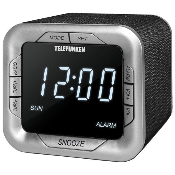 Радио-часы TelefunkenРадио-часы<br>Цифровой дисплей: 1,<br>Вес: 250 г,<br>Звук: моно,<br>Гарантия: 1 год,<br>Цвет: черный/серебристый,<br>Страна: КНР,<br>Цифровой тюнер: 20 УКВ+FM,<br>Тип управления: электронный,<br>Тип батареи для сохр.настроек: 3 х AG 10,<br>Встроенные часы: Да,<br>Питание от сети 220 В: Да,<br>Материал корпуса: пластик,<br>Цвет светящихся символов: белый,<br>Блок питания: в комплекте,<br>Вид гарантии: гарантийный талон,<br>Тип исп. батареи: 4 x AA (LR 6),<br>Габаритные размеры (В*Ш*Г): 80*89*86 мм,<br>Вход 3.5 мм аудио: 1,<br>Будильник: 1<br>
