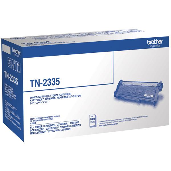 Картридж для лазерного принтера BrotherКартриджи для лазерных принтеров<br>Черный картридж: Да,<br>Ресурс картриджа (A4): 1200 страниц,<br>Картриджей в комплекте: 1,<br>Цвет порошка: черный,<br>Номер картриджа: TN-2335<br>