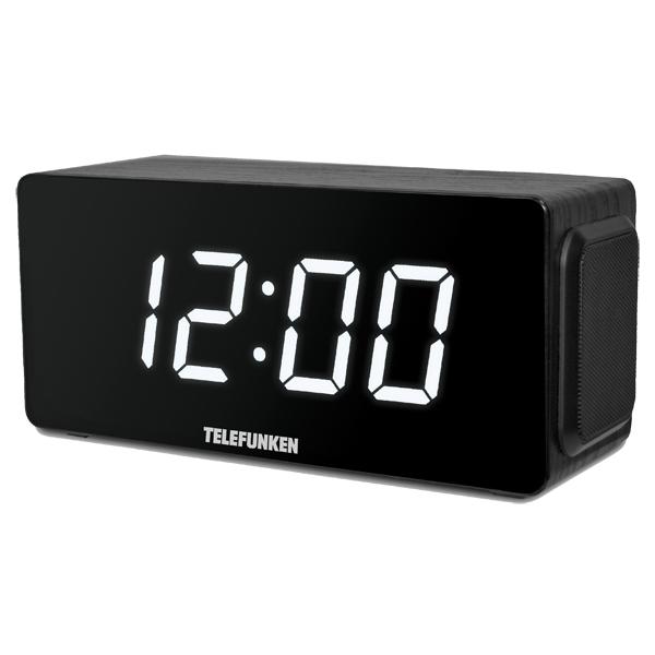 Радио-часы Telefunken TF-1566U Black Wood/White