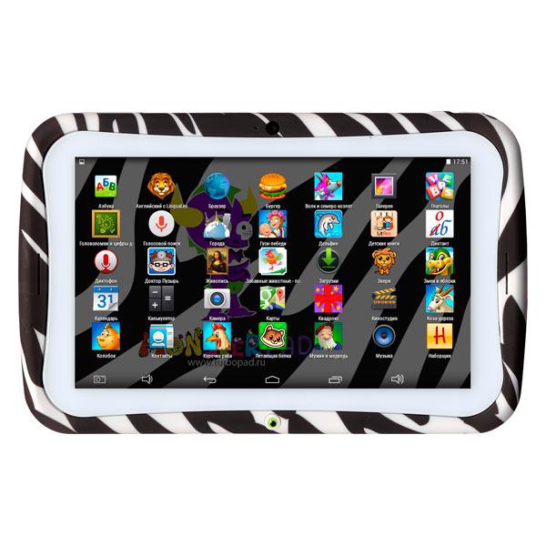 "Планшетный компьютер для детей Turbo MonsterPad 7"" 8Gb Wi-Fi Zebra"