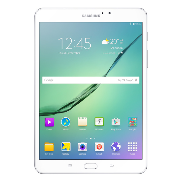 Планшет SamsungПланшеты на Android<br>Поддержка USB Host (OTG): Да,<br>Вес: 265 г,<br>Габаритные размеры (В*Ш*Г): 199*135*6 мм,<br>Разрешение фронтальной камеры: 2 МПикс,<br>Разъем 3.5 мм для подкл. гарнитуры: 1,<br>Интерфейс MHL (HDMI - microUSB): Да,<br>Встроенный динамик: 2,<br>Операционная система: Android 5.0.2,<br>Диагональ экрана: 8(20.3 см),<br>Поддержка Wi-Fi: IEEE 802.11 a/b/g/n/ac,<br>Время в режиме ожидания: до 480 часов,<br>Оперативная память (RAM): 3 ГБ,<br>Wi-Fi точка доступа: Да,<br>Частота процессора: 1.9 ГГц,<br>Емкость аккумулятора: 4000 мАч<br><br>Ширина мм: 135<br>Вес г: 265<br>Глубина мм: 6<br>Высота мм: 199<br>Цвет : белый