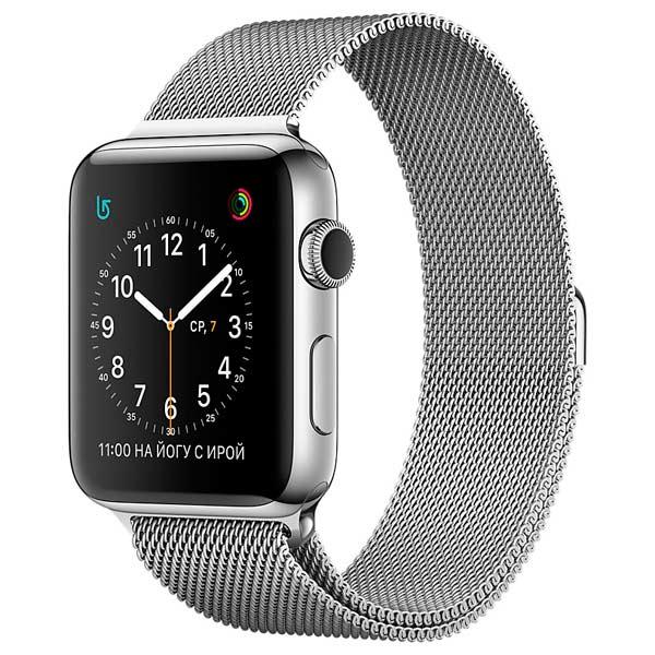 Смарт-часы Apple Watch 38mm Stainless Steel/Milanese Loop(MJ322RU)