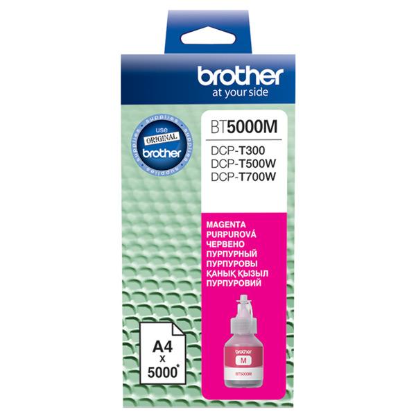 Картридж для струйного принтера BrotherКартриджи для струйных принтеров<br>Ресурс цветного картриджа (A4): 5000 стр,<br>Картридж повышенной емкости: Да,<br>Цвет чернил: пурпурный,<br>Номер картриджа: BT5000M,<br>Серия: BT5000,<br>Картриджей в комплекте: 1 шт<br>