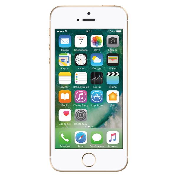 Смартфон AppleiPhone<br>Время в режиме ожидания: до 10 дней,<br>Габаритные размеры (В*Ш*Г): 124*59*8 мм,<br>Время в режиме разговора: до 14 часов,<br>Проводная гарнитура: в комплекте,<br>Поддержка Wi-Fi: IEEE 802.11 a/b/g/n/ac,<br>Диагональ/разрешение: 4/1136х640 пикс.,<br>Тип процессора: A9+M9,<br>Модель: MLXM2RU/A,<br>Тип дисплея: Retina,<br>Базовый цвет: золотой,<br>Технология дисплея: IPS,<br>Зарядное устройство в комплекте: Да,<br>Поддержка ГЛОНАСС: Да,<br>Камера видеофона: Да,<br>Технология NFC: Да,<br>GPS модуль: Да,<br>Серия: iPhone SE,<br>Вес: 113 г<br>