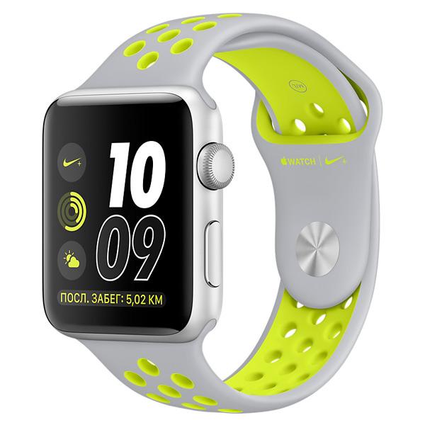 Apple Watch Nike+ 38mm Silver Al/Volt (MNYP2RU/A) apple watch nike 38mm silver al white mq172ru a