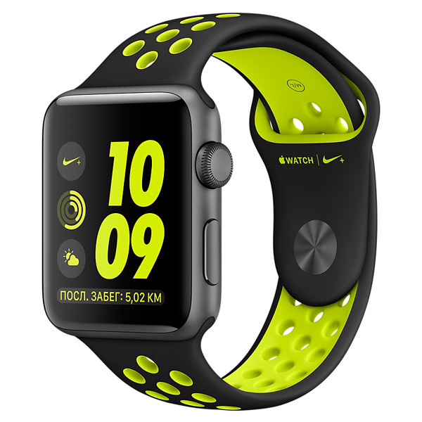 Смарт-часы Apple Watch Nike+ 42mm Space Grey Al /Volt (MP0A2RU/A)