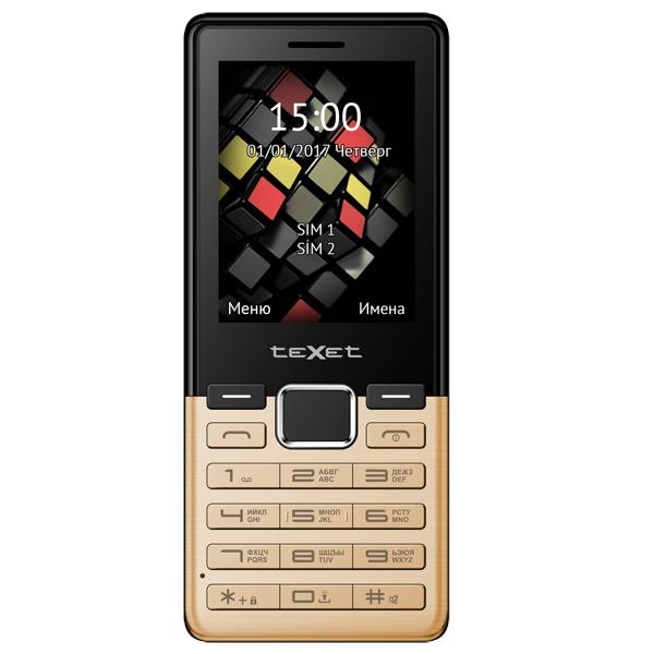 Мобильный телефон teXet TM-230 Gold карты памяти