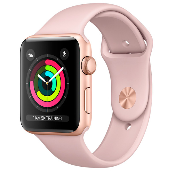 Смарт-часы Apple Watch S3 Sport 38mm Gl Al/PinkSand Band MQKW2RU/A coteetci w6 luxury stainless steel magnetic watchband for apple watch series 1 series 2 38mm gold