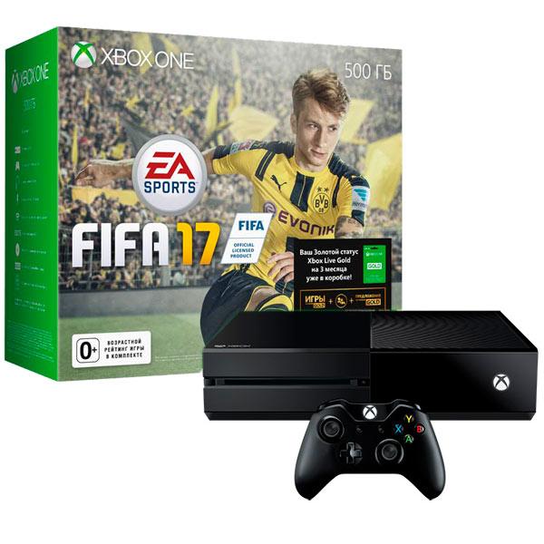 Игровая консоль Xbox One MicrosoftКонсоль XBOX ONE<br>Страна: КНР,<br>Поддержка 4K разрешения: Да,<br>Камера-сенсор Kinect 2.0: доп. опция,<br>Кабель для цифр.подкл. (HDMI): в комплекте,<br>Вид гарантии: по чеку,<br>Жесткий диск (HDD): 500 ГБ,<br>Выход оптический (Toslink): 1,<br>Вес: 3.2 кг,<br>Проводная гарнитура: доп.опция,<br>Подключение к сети Интернет: Да,<br>Габаритные размеры (В*Ш*Г): 80*333*274 мм,<br>Карта доступа Xbox Live Gold: 14 дней,<br>LAN разъем (RJ45): 1 шт,<br>Вход HDMI: 1 шт,<br>Игра 1: FIFA 17,<br>Выход HDMI: 1 шт,<br>Цвет: черный,<br>Тип носителя информации: Blu-Ray/ DVD<br><br>Вес кг: 3.2<br>Цвет : черный