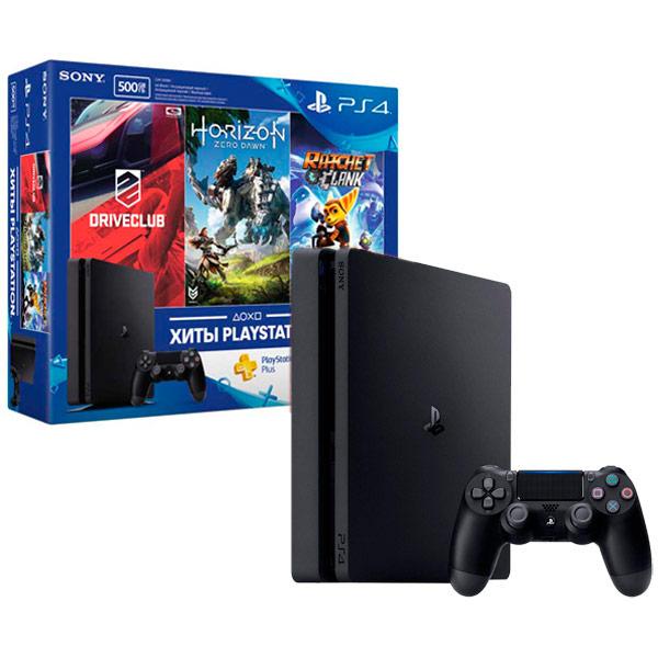 Игровая консоль PlayStation 4 Driveclub + Horizon + Ratchet + PS plus (3мес.) игровая приставка sony playstation 4 1 tb игра driveclub игра одни из нас обновленная версия