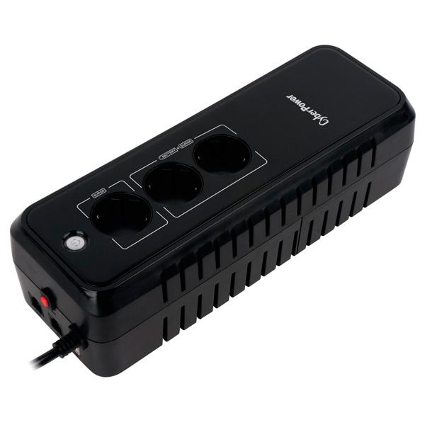 Блок бесперебойного питания CyberPowerИсточники бесперебойного питания<br>Габаритные размеры (В*Ш*Г): 84*309*110 мм,<br>Кабель RJ-11: доп. опция,<br>Серия: EX,<br>Порт USB 2.0 тип B: 1,<br>Кабель питания 220 В: несъемный,<br>Ширина: 309 см,<br>Фильтр импульсных помех: Да,<br>Глубина: 110 см,<br>Фильтр телефонных линий: Да,<br>Высота: 84 см,<br>Кол-во защищен. розеток: 2,<br>Время зарядки аккумулятора: до 8 часов,<br>Активная мощность: 360 Вт,<br>Выход телефонной линии: 1,<br>Вид гарантии: гарантийный талон,<br>Вход телефонной линии: 1,<br>Кабель USB: в комплекте,<br>Программное обеспечение: в комплекте<br>