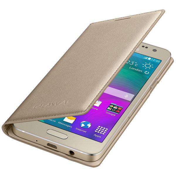 Чехол для сотового телефона SamsungЧехлы для телефонов<br>Цвет: золотистый,<br>Страна: Корея,<br>Кейс для смартфона: Samsung Galaxy A3,<br>Вес: 41 г,<br>Горизонтальное размещение: Да,<br>Гарантия: 3 месяца,<br>Количество отделений: 1,<br>Отверстие для подзарядки: Да,<br>Отверстие для гарнитуры: Да,<br>Отв. для встр. камеры: Да,<br>Для моделей с диаг. экрана: 4.5,<br>Вид гарантии: по чеку,<br>Материал чехла: кожа,<br>Автоматическое включение экрана: Да,<br>Тип корпуса: задняя крышка + флип,<br>Количество в упаковке: 1 шт<br>