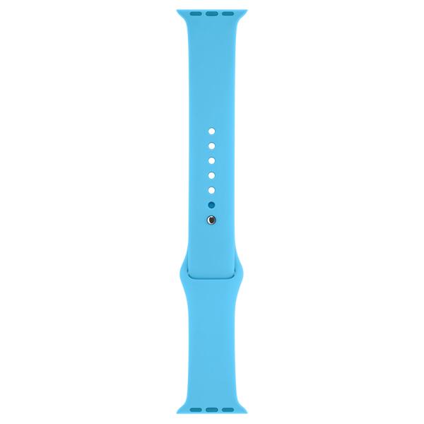 Ремешок AppleАксессуары для гаджетов<br>Цвет: голубой,<br>Серия: Sport,<br>Гарантия: 1 год,<br>Обхват: 130-200 мм,<br>Вид гарантии: по чеку,<br>Цвет застёжки: серебристый,<br>Материал застёжки: алюминий,<br>Ремень на руку: 1 в комплекте,<br>Совместимость: Apple Watch 38 мм,<br>Страна: КНР,<br>Материал корпуса: фторопласт<br>