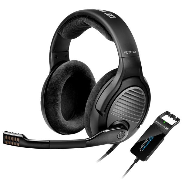 Игровые наушники SennheiserНаушники игровые<br>Отключение микрофона: Да,<br>Микрофон с шумоподавлением: Да,<br>Гарантия: 2 года,<br>Штекер 3.5 мм: 2,<br>Тип подключения: проводной,<br>Материал оголовника: ткань,<br>Чувствительность (микр.): - 38 дБ,<br>Модель: PC 363D,<br>Интерфейс связи с ПК: USB 2.0,<br>Звуковая карта: в комплекте,<br>Длина кабеля: 2 м,<br>Частотный диапазон (микр.): 50 Гц - 16 кГц,<br>Количество каналов звука: 7.1,<br>Регулировка громкости: Да,<br>Вес: 268 г,<br>Цвет: черный,<br>Сопротивление микрофона: 2 кОм,<br>Сопротивление: 50 Ом,<br>Акустический тип: открытый<br>