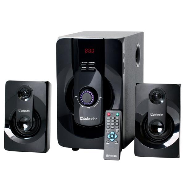 Колонки компьютерные 2.1 DefenderКомпьютерные колонки 2.1<br>Порт USB 2.0 тип A: 1,<br>Блок питания: встроенный,<br>Вход RCA аудио: 2,<br>Bluetooth (версия): 3.0 + EDR,<br>Мощность фронтальных АС: 2 x 10 Вт,<br>Цифровая карта памяти: Да,<br>Питание от сети 220 В: Да,<br>Пульт ДУ: в комплекте,<br>Цвет сабвуфера: черный,<br>Макс. емкость карты памяти: 32 ГБ,<br>Активный сабвуфер: Да,<br>Кабель аудио 3.5 мм - 2 RCA: в комплекте,<br>Размер дисплея (В*Ш): 20*60 мм,<br>Разъем под SD/MMC: 1,<br>Частотный диапазон сабвуфера: 40 - 200 Гц,<br>Материал корпуса сабвуфера: MDF,<br>Вес фронтальных АС: 0.36 кг<br>