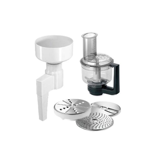 Насадка для кухонного комбайна BoschНасадки и наборы для мясорубок<br>Количество насадок: 2,<br>Цвет: белый/черный,<br>Шинковка (двухсторон. диск): Да,<br>Терка (односторонний диск): Да,<br>Терка (двухсторонний диск): Да,<br>Страна: Словения,<br>Мельничка для зерен: в комплекте,<br>Мини-измельчитель: Да,<br>Тип насадки: MUMXL<br>