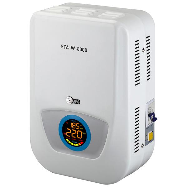 Стабилизатор напряжения ЭРАСтабилизаторы напряжения<br>Максимальная нагрузка: 36 А,<br>Крепление на стену: Да,<br>Цвет светящихся символов: многоцветные,<br>Вид гарантии: гарантийный талон,<br>Максимальная нагрузка: 8000 ВА,<br>Светящиеся символы дисплея: Да,<br>Заземляющий контакт: Да,<br>Цифровой дисплей: 1 шт,<br>Диапазон стабилизации: 140-270 В,<br>Серия: STA-W,<br>Текстовый дисплей: Да,<br>Встроенный выключатель: Да,<br>Габаритные размеры (В*Ш*Г): 44.5*34*21 см,<br>Тип розеток: клеммы,<br>Максимальная нагрузка: 8000 Вт,<br>Индикация перегрузки: Да,<br>Напряжение откл. нагрузки: 270 В<br><br>Ширина см: 34<br>Глубина см: 21<br>Высота см: 44.5<br>Цвет : белый