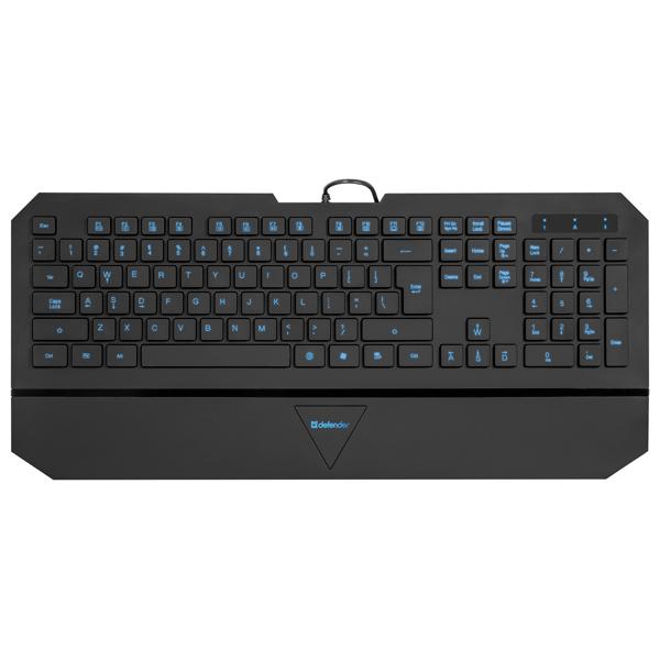 Клавиатура проводная DefenderПроводные клавиатуры<br>Вид гарантии: по чеку,<br>Длина кабеля: 1.5 м,<br>Высота: 2 см,<br>Количество клавиш: 104,<br>Подставка для кистей рук: Да,<br>Цвет: черный,<br>Клавиш MultiMedia: 8,<br>Подсветка клавиш: Да,<br>Тип клавиатуры: QWERTY/ЙЦУКЕН,<br>Интерфейс связи с ПК: USB 2.0,<br>Серия: Oscar,<br>Страна: КНР,<br>Глубина: 20 см,<br>Ширина: 45 см,<br>Габаритные размеры (В*Ш*Г): 2*45*20 см,<br>Материал корпуса: пластик<br><br>Ширина см: 45<br>Глубина см: 20<br>Высота см: 2<br>Цвет : черный