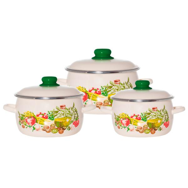 Набор посуды (эмаль) Vitross 1DA021M/S Still Life , шесть предметов 2л,3л,4л