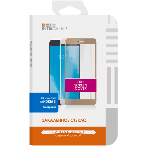 Защитное стекло InterStep для Nokia 3 White (IS-TG-NOKIA3FSW-000B201) беспроводная акустика interstep sbs 150 funnybunny blue is ls sbs150blu 000b201