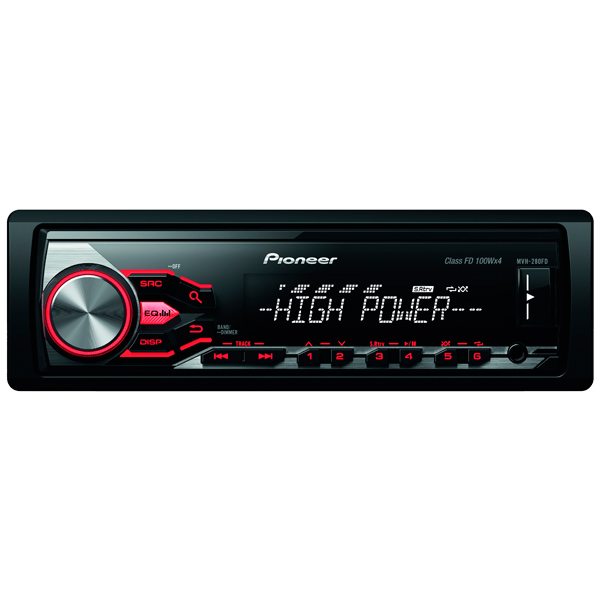USB-Автомагнитола Pioneer MVH-280FD автомагнитола pioneer mvh 280fd usb mp3 cd fm 1din 4x100вт черный