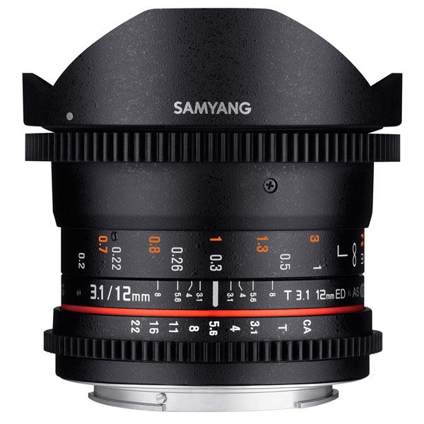 Объектив Samyang 12mm T3.1 VDSLR ED AS NCS Fish-eye Canon canon as 130 черный